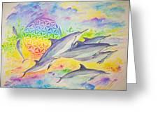 Dolphins-color Greeting Card by Tamara Tavernier