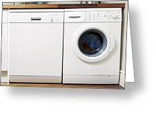 Domestic Dishwasher And Washing Machine Greeting Card by Johnny Greig