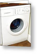 Domestic Washing Machine Greeting Card by Johnny Greig