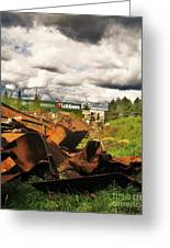 Domfer Deconstruction Twisted Metal Greeting Card by Reb Frost