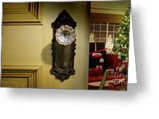 Door Looking Into Christmas Tree Greeting Card by Sandra Cunningham