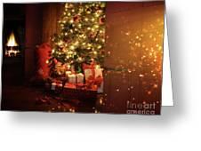 Door opening onto nostalgic Christmas scene   Greeting Card by Sandra Cunningham