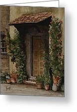 Door With Roses Greeting Card by Sam Sidders