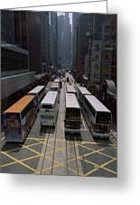 Double Decker Buses In The Streets Greeting Card by Justin Guariglia