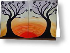 Double Trees Greeting Card by Monica Moser