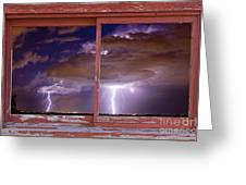 Double Trouble Lightning Picture Red Rustic Window Frame Photo A Greeting Card by James BO  Insogna