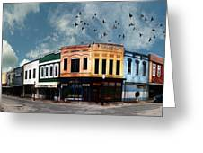 Downtown Bryan Texas Panorama 5 To 1 Greeting Card by Nikki Marie Smith