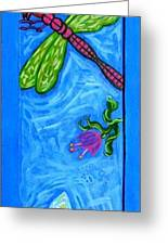 Dragonfly And Bee Greeting Card by Genevieve Esson