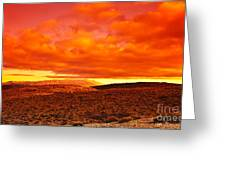 Dramatic Red Sunset At Desert Greeting Card by Anna Omelchenko