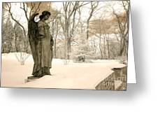 Dreamy Surreal Angel Sepia Nature Scene Greeting Card by Kathy Fornal