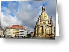 Dresden Church Of Our Lady And New Market Greeting Card by Christine Till
