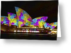 Dress Sails - Sydney Vivid Festival - Sydney Opera House Greeting Card by Bryan Freeman