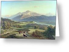Drover On Horseback With His Cattle In A Mountainous Landscape With Schloss Anif Salzburg And Beyond Greeting Card by Josef Mayburger