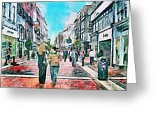 Dublin Grafton Street Greeting Card by Yury Malkov