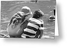 Duck Pond Siblings Greeting Card by Ann Johndro-Collins