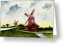 Dutch Windmills Greeting Card by Michael Vigliotti