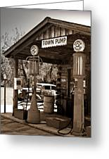 Early Gas Station Greeting Card by Douglas Barnett