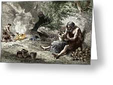 Early Humans Making Pottery Greeting Card by Sheila Terry