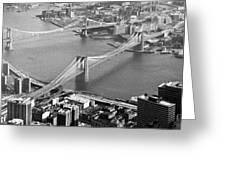 East River Bridges New York Greeting Card by Gary Eason