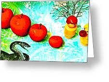 Eating Apples Greeting Card by Ricky Sencion