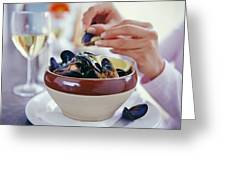 Eating Mussels Greeting Card by David Munns