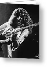 Eddie Van Halen - Black And White Greeting Card by Tom Carlton