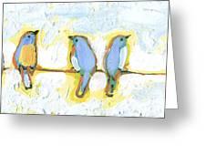 Eight Little Bluebirds Greeting Card by Jennifer Lommers