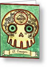 El Corazon Calavera Loteria Greeting Card by Maryann Luera