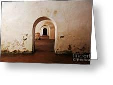 El Morro Fort Barracks Arched Doorways San Juan Puerto Rico Prints Greeting Card by Shawn O'Brien