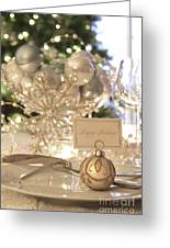 Elegant Holiday Dinner Table With Focus On Place Card Greeting Card by Sandra Cunningham