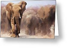Elephant Painting Greeting Card by Michael Greenaway
