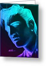 Elvis Neon Greeting Card by Michael Mestas