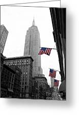 Empire State Building In The Mist Greeting Card by John Farnan