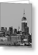 Empire State Bw Greeting Card by Susan Candelario