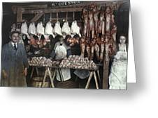 Employees Sell Cuts Of Meat Greeting Card by Gervais Courtellemont