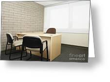 Empty Desk In An Office Greeting Card by Skip Nall
