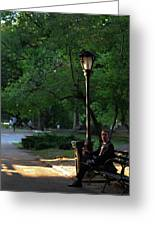 Enjoying The Moment In Central Park Greeting Card by Lee Dos Santos