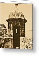 Entrance To Sentry Tower Castillo San Felipe Del Morro Fortress San Juan Puerto Rico Rustic Greeting Card by Shawn O'Brien