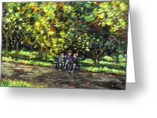 Eoin Miraim And Cian In Botanic Gardens Greeting Card by John  Nolan