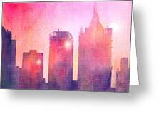 Ethereal Skyline Greeting Card by Arline Wagner