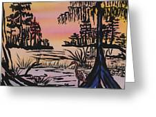 Evening In The Cyprus Trees Greeting Card by Connie Valasco