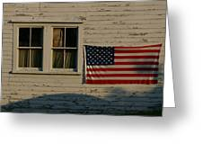 Evening Light On An American Flag Greeting Card by Stephen St. John