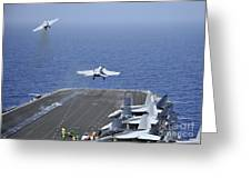 Fa-18f Super Hornets Launch Greeting Card by Stocktrek Images