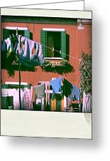 Facades Of Burano. Venice Greeting Card by Bernard Jaubert