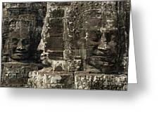 Faces Of Banyon Angkor Wat Cambodia Greeting Card by Bob Christopher