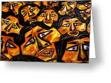 Faces Yellow Greeting Card by Karen Elzinga