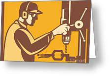 Factory Worker Operator With Drill Press Retro Greeting Card by Aloysius Patrimonio
