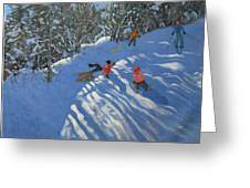 Falling off the Sledge Greeting Card by Andrew Macara