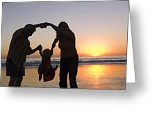 Family Portrait On The Beach At Sunset Greeting Card by Rich Reid