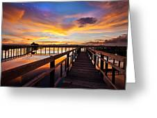Fantastic Sky On Wood Bridge Greeting Card by Arthit Somsakul